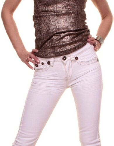 LADIES STRETCH CROPPED CAPRI SHORTS JEANS WHITE WASHED  201