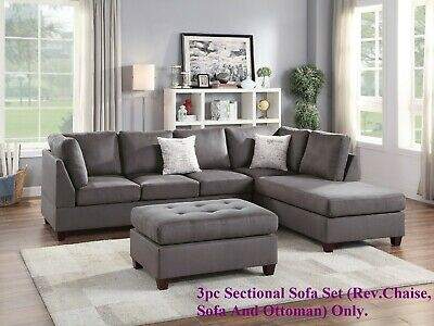 Microfiber Reversible Chaise Sofa
