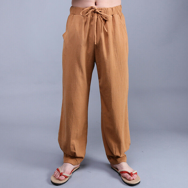 New Mens Comfort Cotton Linen Lace Up Wide leg trousers solid pure color casual