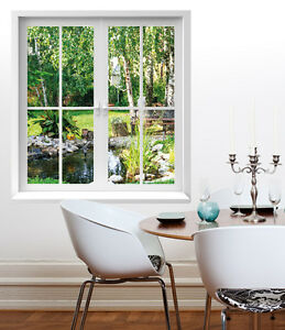 premiumdesign wandtattoo fenster ausblick in garten 120 x 130cm motiv 126 ebay. Black Bedroom Furniture Sets. Home Design Ideas