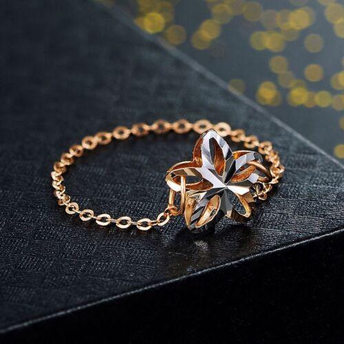 Nouvelle arrivée Véritable 18k Multi-Tone Gold Ring Femmes Lucky Fleur O Chain Ring US5-8