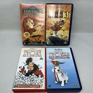Disney-VHS-Video-Bundle-Glenn-Close-101-amp-102-Dalmations-Lion-King-2-amp-3-1123D