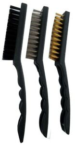 """1 Steel 1 Nylon Bristle Ideal for Auto Cleaning 1 Brass 3 Piece 9/"""" Brush Set"""