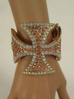 Women Large Cross Cuff Bracelet Fashion Jewelry Rhinestones Black / Gold