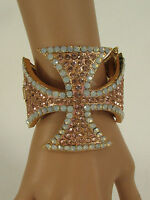 Women Large Cross Cuff Bracelet Fashion Jewelry Rhinestones Black / Gold