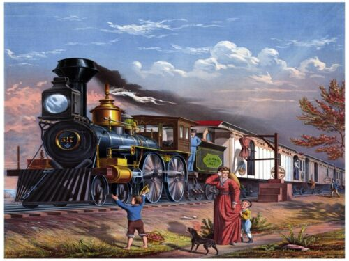 6198.Train passing by.family waiting for merchandise.POSTER.Home Office art