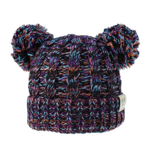 Ski Caps Soft Crochet Beanie Cap Knitted Bobble Hat Pom Pom Hat Baby Winter Hat