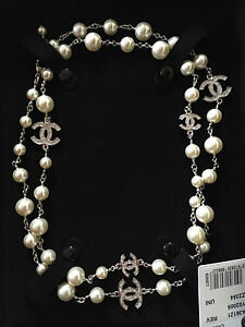 Authentic Chanel 2017 White Pearl Iconic 5 Cc Dress Necklace Nwt In Box 42 Ebay