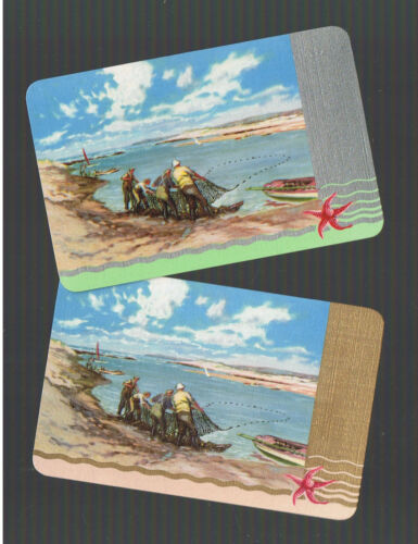 Playing Swap Cards  2   VINT  THE  FISHERMAN /& THE  HAUL OF FISH W285  L@@K