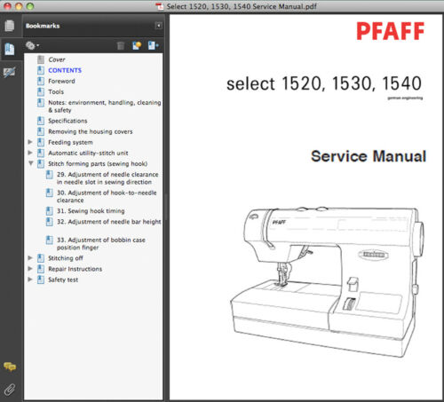 MANUALS CD 1540 SERVICE MANUAL /& PARTS CATALOG 1530 Pfaff Select 1520 2