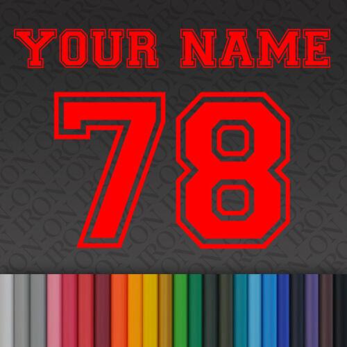 Plaine thermocollants solide Sport lettres /& numéros Vinyle Tissu T-shirt Transfert Craft