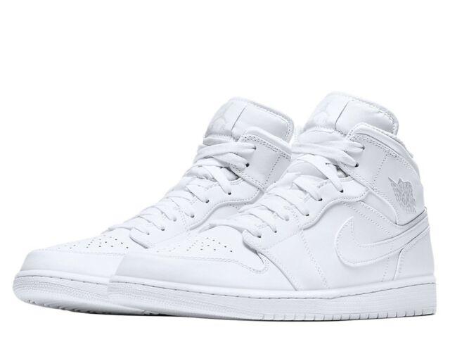 hot sale online 714ba 9ed85 Nike Air Jordan 1 Mid White Trainers UK 12   Brand New In Box