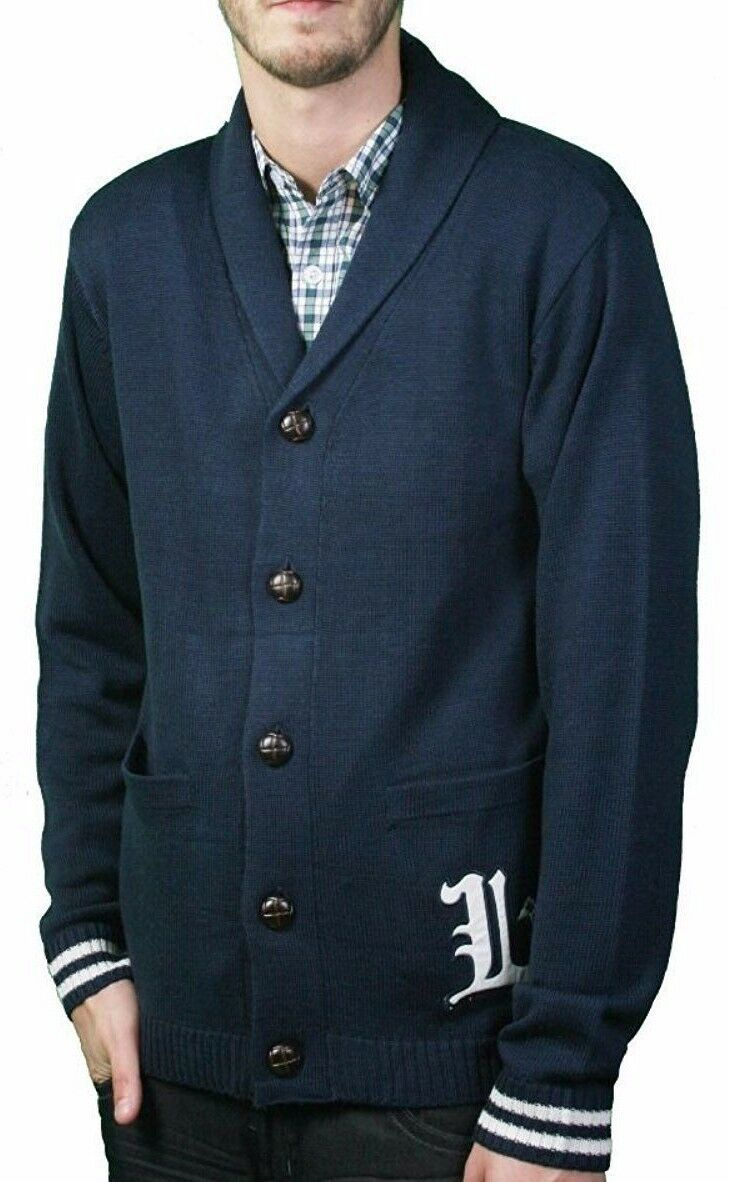 LRG  Herren Bulwarks Navy Cardigan Knit English L Lifted Trees Sweater NWT