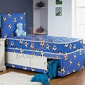 Childrens football divan bed 3ft single with drawers slide for Single divan bed with slide storage