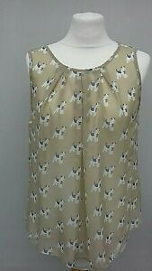 Atmosphere-Sheer-Blouse-Size-14-beige-cute-dog-print-smart-summer