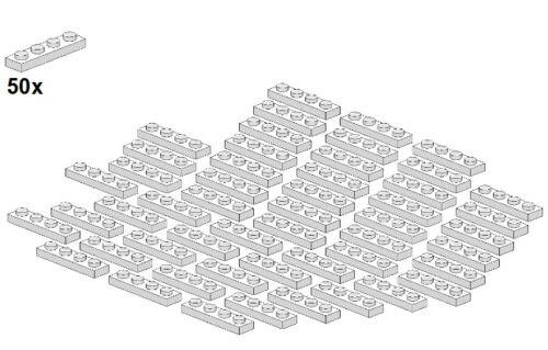 Weiß 50Stk Plates 1x4 - Platte 3710-05 White LEGO®