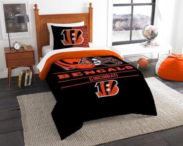 Cincinnati Bengals - 2 Pc TWIN Größe Printed Comforter Sham Set
