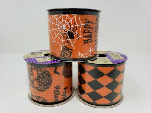 "New Crafter/'s Square 2.5/"" x 3 yds Halloween Wire-Edge Ribbon"