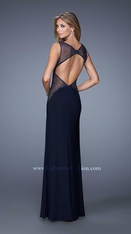 378 NWT NAVY blueE LA FEMME PROM PAGEANT FORMAL DRESS GOWN SIZE 4