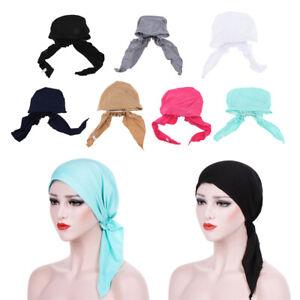 Silk-Beanie-Hat-Hair-Loss-Chemo-Cap-Pre-Tied-Turban-Scarf-Headwear-Head-Wrap