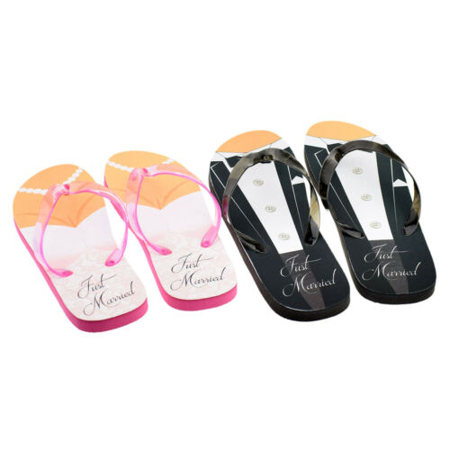 0f73e2848 1 of 2FREE Shipping Just Married Tux and Wedding Dress His   Her Flip Flops  - XFFS050-Pink-