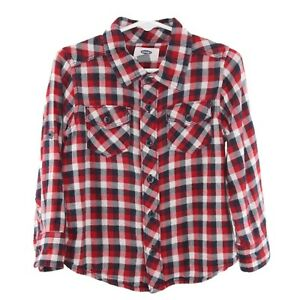 c5afc182 Old Navy Boys Toddler Red Flannel Button Down Long Sleeve Shirt Size ...