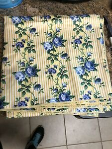 Longaberger-Blue-ROSE-TRELLIS-FABRIC-SQUARE-Yellow-Table-Cloth-36-NEW-Floral