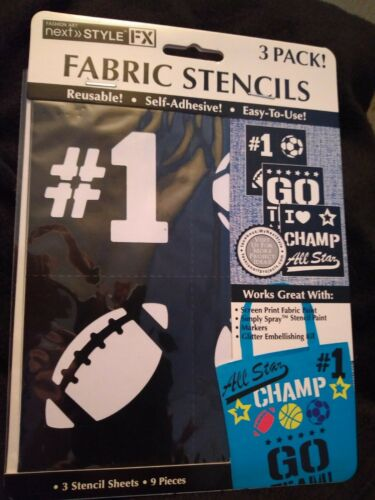 NEW!!! 3 Pack Fashion Art SPORTS Fabric Stencils