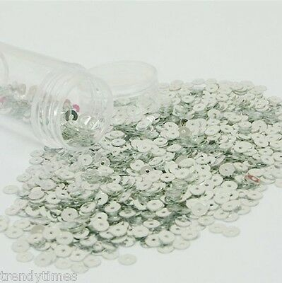 40000 Silver 5mm Flat Round loose sequins Paillettes sewing Wedding craft