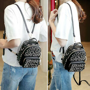 Faux-Leather-Convertible-Small-Mini-Backpack-Rucksack-Shoulder-bag-Purse-Studded