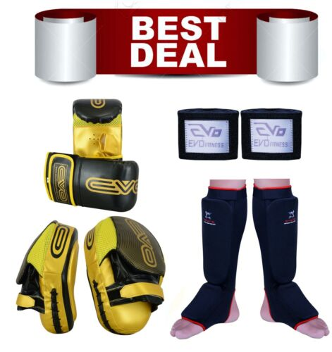 Deal Boxing Kit Gloves Gel gloves Shin pads Hand Wraps Kick MMA Gym Bag UFC PRO