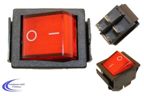 Wippenschalter max 250V 15A unbeleuchtet 2 polig Geräteschalter rot