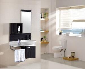 Mobile arredo bagno wenge scuro lavabo appoggio specchio con