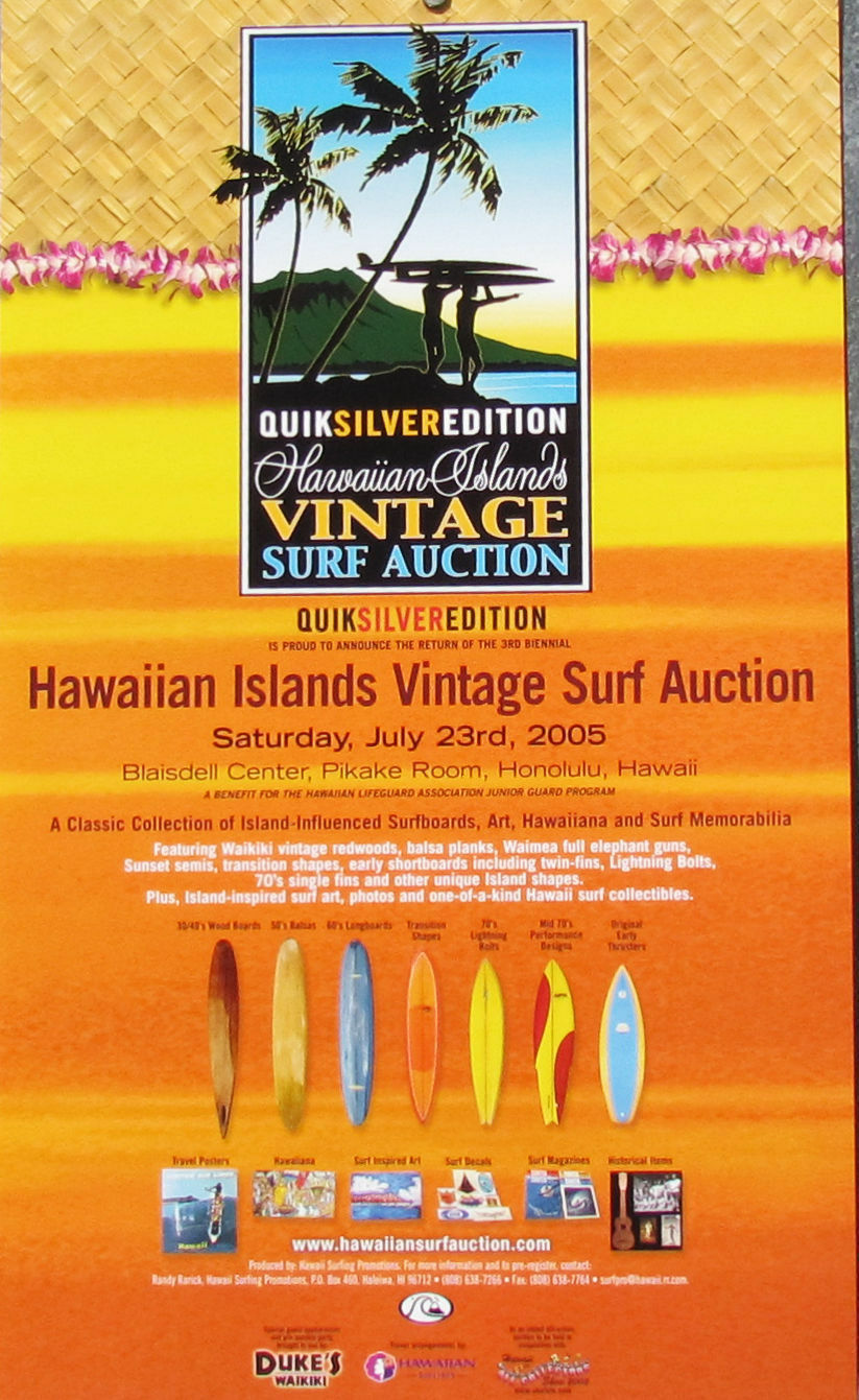 Mint 2005 Official Hawaiian Islands Vintage Surfboard Surfing Auction Poster