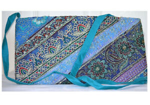 Turquoise-Color-Hand-Embroidered-Borders-Shoulder-Cross-Body-Bag-Silk-From-India
