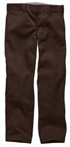 Dickies-Mens-Straight-Work-Slim-Trousers-Chocolate-Brown-32W-x-34L
