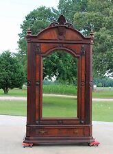 Large Victorian Walnut One Door Armoire Wardrobe Fancy Crest Orig. Mirror c1875