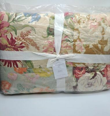 Pottery Barn Carolina Floral Patchwork Cotton Quilt FQ ...