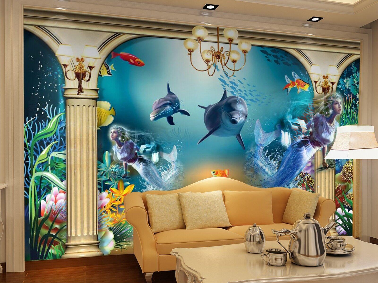 3D Delphin Ozean Meerjungfrau 8 Tapete Wandgemälde Tapeten Bild Familie DE Lemon