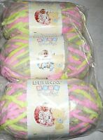 Bernat Baby Blanket Yarn Lot Of 3 - Little Girl Dove (pink, Green, Grey)