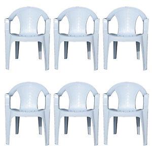 6x Indoor Outdoor White Plastic Chairs Garden Patio Armchair Stacking Heavy Duty Ebay