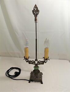 Vintage-Art-Nouveau-2-Bulb-Brass-amp-Slag-Glass-Table-Lamp-Bridge-Style-Stunning