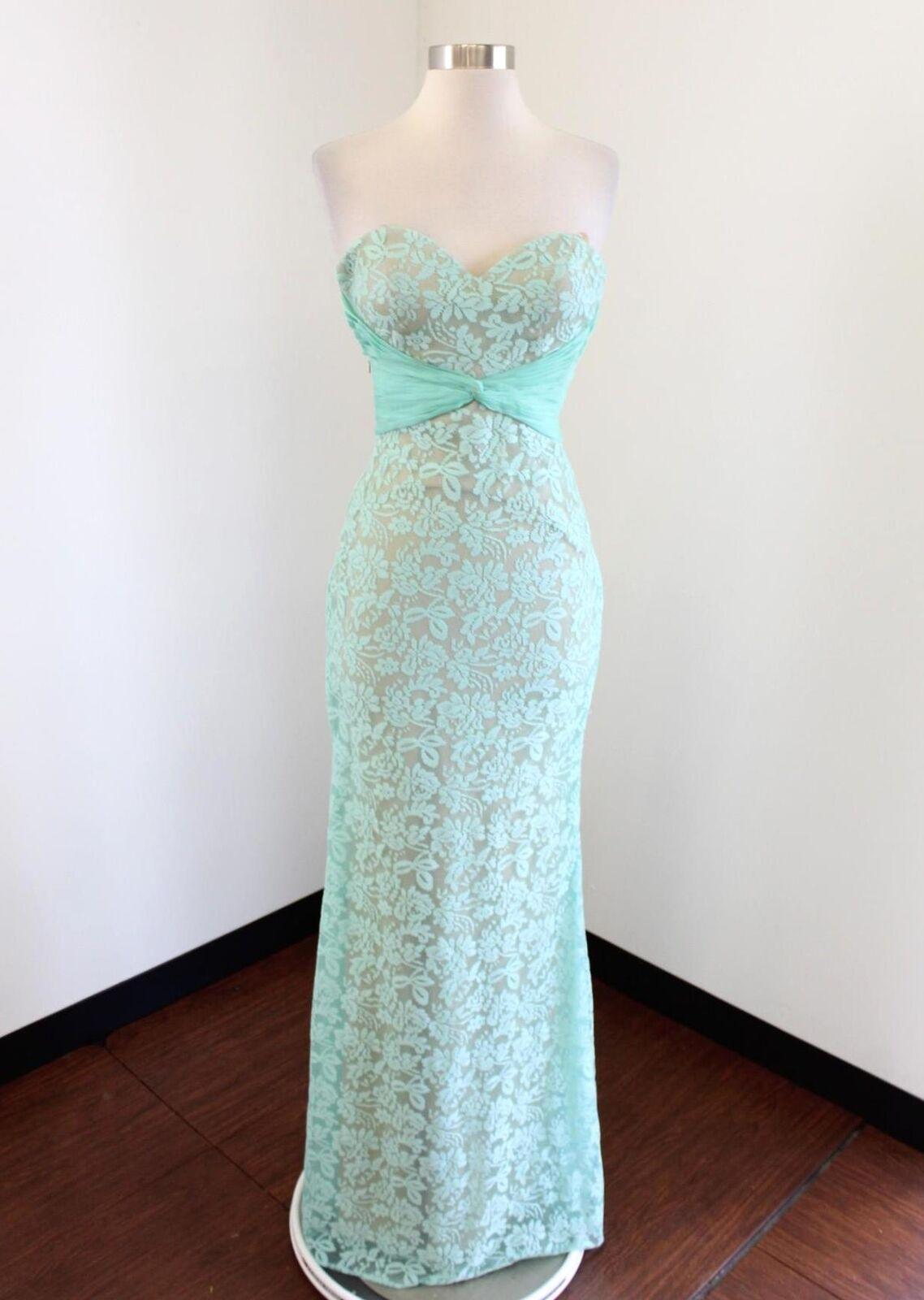 NWT  Anny Lee Seafoam Grün Tan Nude Lace Strapless Prom Formal Dress Sz XS