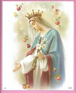 Catholic-Print-Blessed-Virgin-MARY-QUEEN-OF-HEAVEN-with-Roses-SIMEONE-8x10-Italy