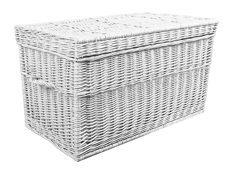 Weidenkorb 90 cm Weiß Korbtruhe Truhe Weide Weidentruhe Spielzeugbox Koffer
