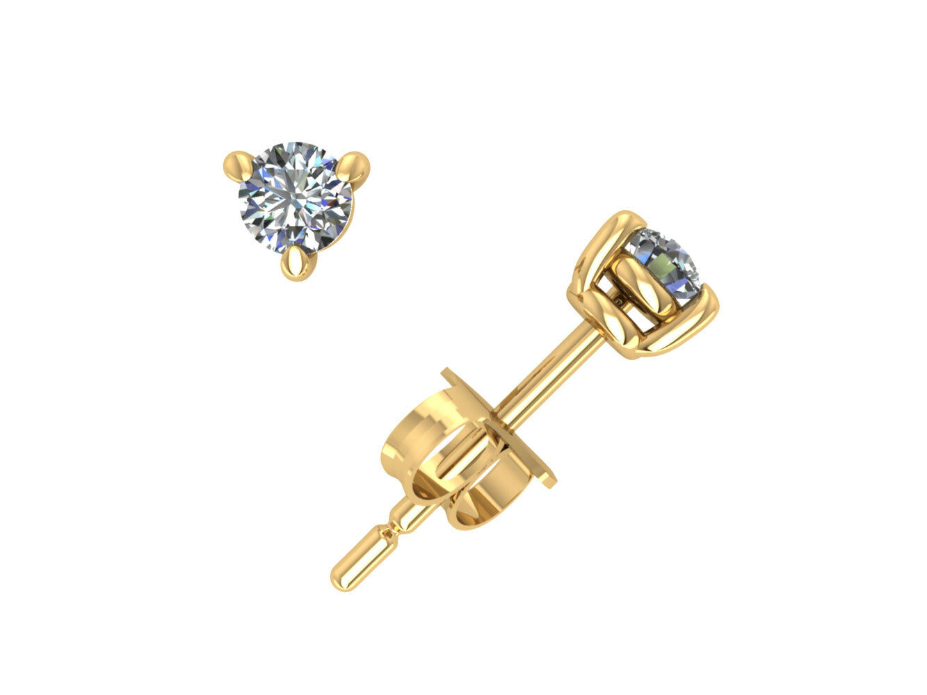 0.2Ct Round Diamond Basket Solitaire Stud Earrings 14k Yellow gold 3Prong I SI2