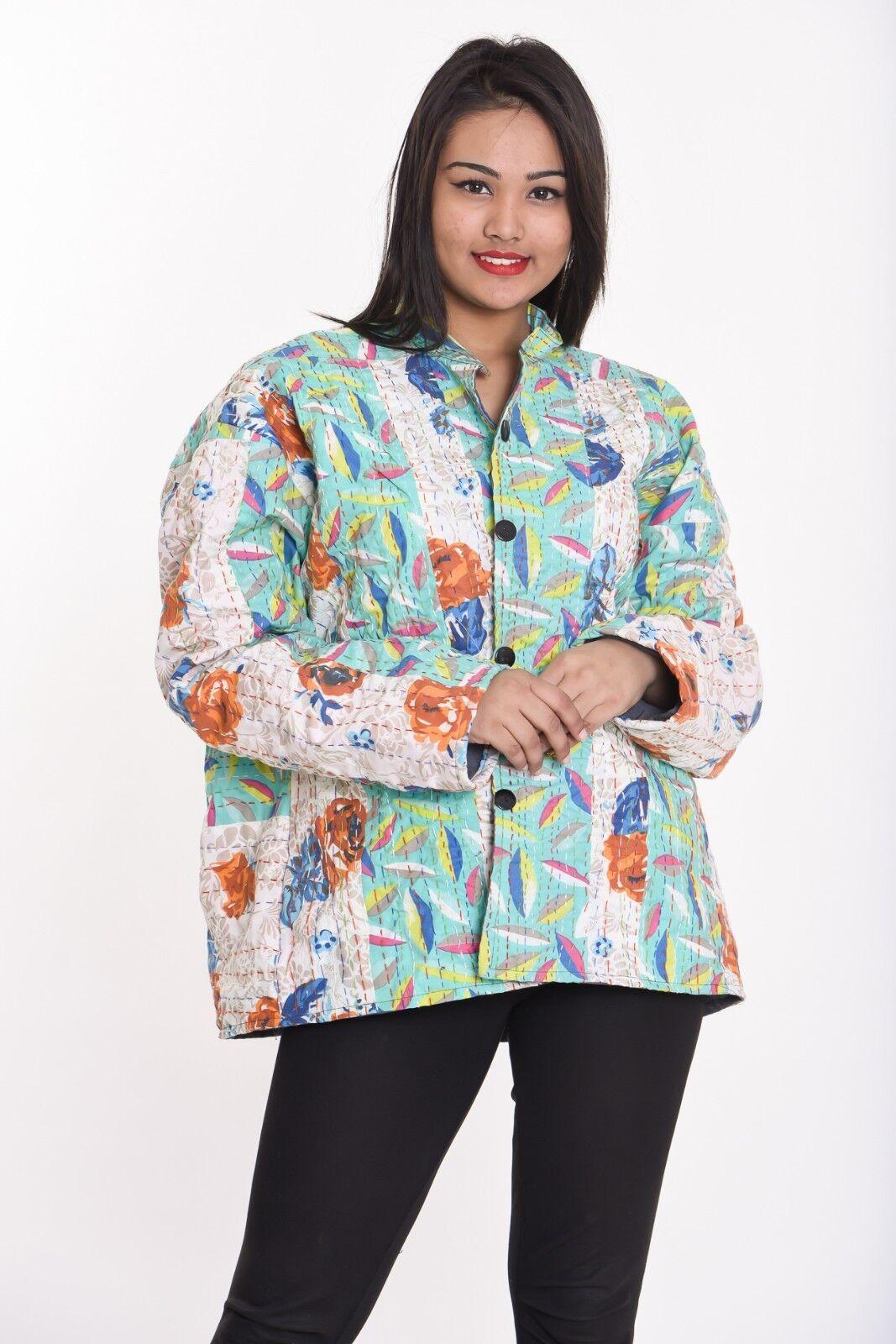Indian cotton women's jacket Coat winter warm outwear Kantha XXS-10XL