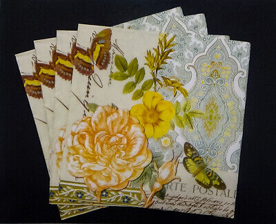 Spring Lunch 3ply paper napkin.13 x 13 Decoupage Shabby chic 4pc Anemone