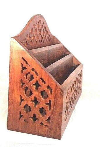 Solid wooden Jali 3 tier letter rack with carved detail and three letter slots