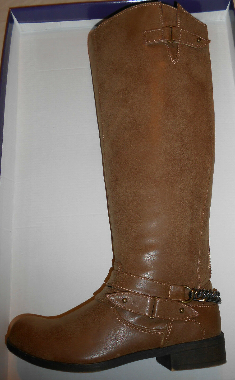Madden Girl Boots Size 6 Womens Brown Cognac Knee High Low heel Shoes adult